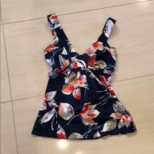 GUESS: silk, navy blue top with flower print.